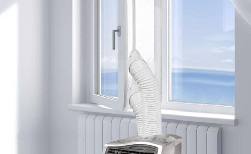Portable window air con seal