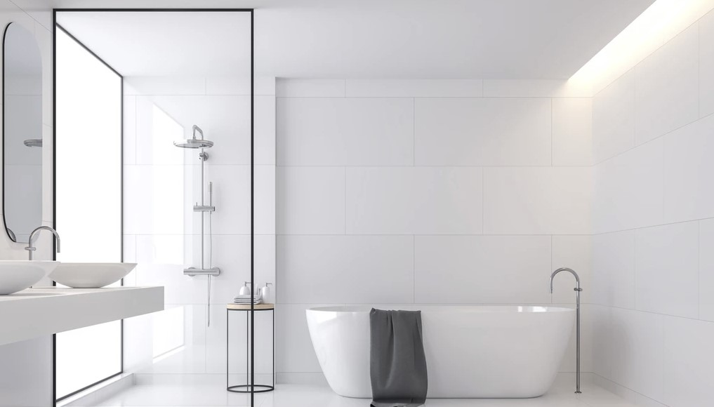 Bathroom with tiles on floors and walls